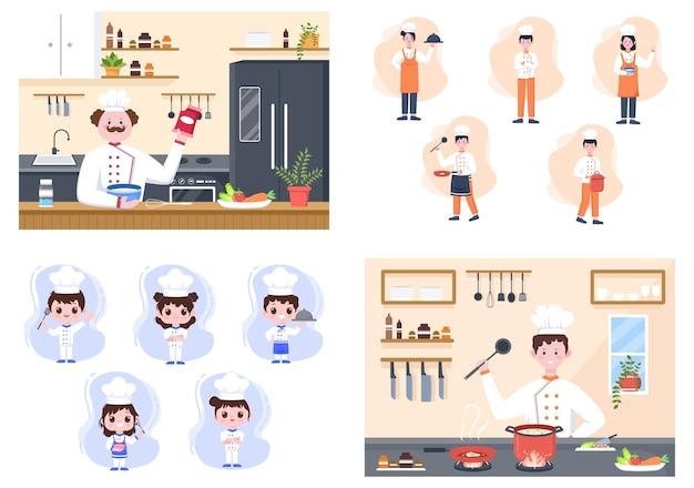 Chefkoch kocht in der küche mit tablett, zutaten oder verschiedenen mahlzeiten. innenmöbel und utensilien hintergrund landing page illustration