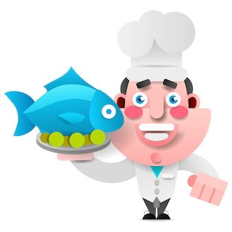 Chefkoch mit fisch auf einem tablett