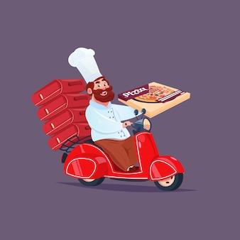 Chefkoch riding red motor bike schnelles pizza-lieferungs-konzept