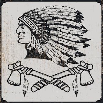 Chefkopf der amerikanischen ureinwohner im traditionellen kopfschmuck mit tomahawks. element