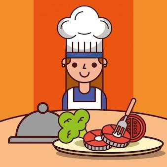 Chefmädchen-karikaturabendessenvorbereitung fisch-tomatenbrokkoli