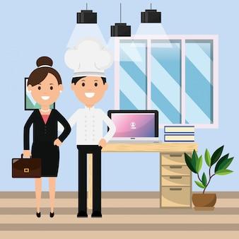 Chefmann und -geschäftsfrau im bürocomputertisch bucht betriebsillustration
