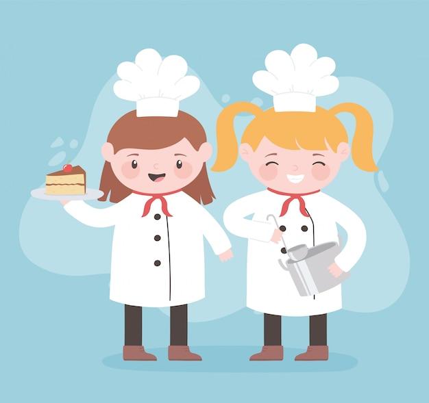 Chefs mädchen zeichentrickfigur mit topfkelle und kuchen
