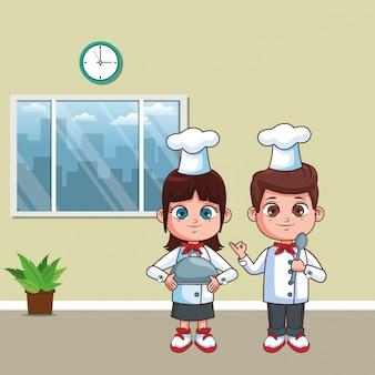 Chefs scherzt karikatur