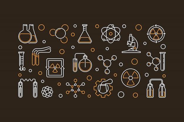 Chemie der radioaktiven elemente umriss banner