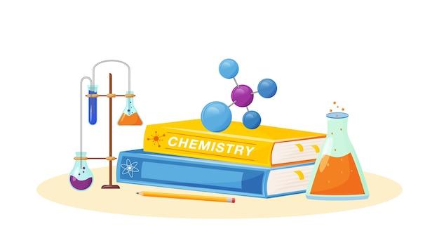 Chemie flaches konzept illustration. schulfach. laboranalyse. naturwissenschaftliche metapher. praktischer unterricht. universitätslehrgang. schüler lehrbuch und laborflaschen artikel 2d-cartoon-objekte