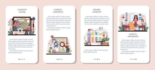 Chemie-schulunterricht mobile anwendung banner-set. schüler lernen