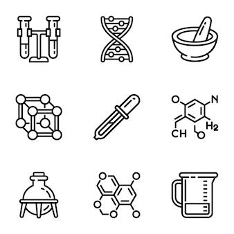 Chemie wissenschaft icon set. umreißsatz von 9 chemiewissenschaftsikonen