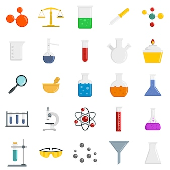 Chemie wissenschaft icon set