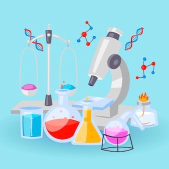 Chemieausrüstung für experimente. fläschchen, mikroskop, reagenzgläser mit reagenzien und dna-formeln