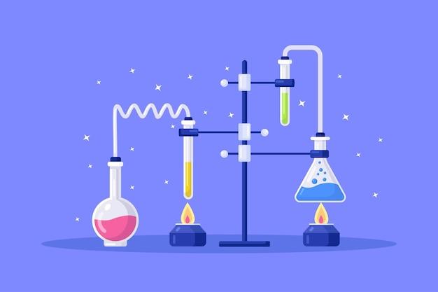 Chemielaborausstattung. flaschen, becher, brenner. wissenschaftliche instrumente für die chemische oder biologische forschung