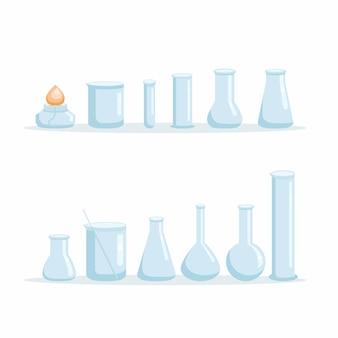 Chemielaborgerätesatz. vektor-illustration.