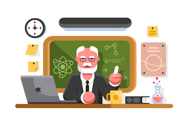 Chemielehrer im klassenzimmer. professor im klassenzimmer. bildungskonzept Premium Vektoren