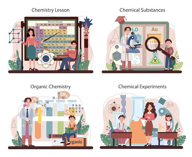 Chemieschulunterricht eingestellt. schüler lernen chemische formeln