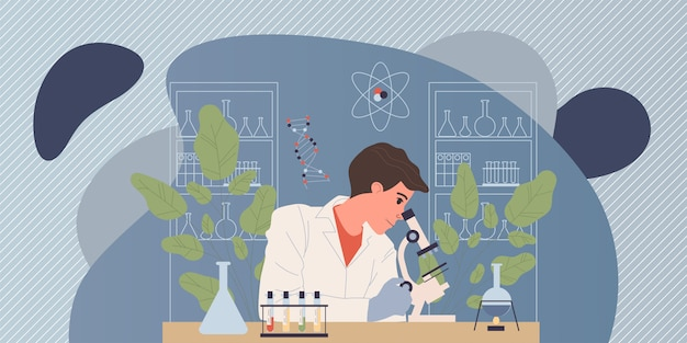 Chemiker, der experiment durchführt