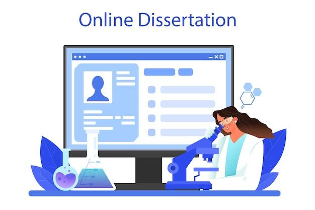 Chemiker-online-service oder plattform-chemiewissenschaftler, der ein experiment durchführt