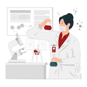 Chemikerin bei der arbeit konzeptillustration
