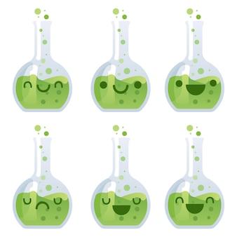 Chemische flaschenillustration kawaii