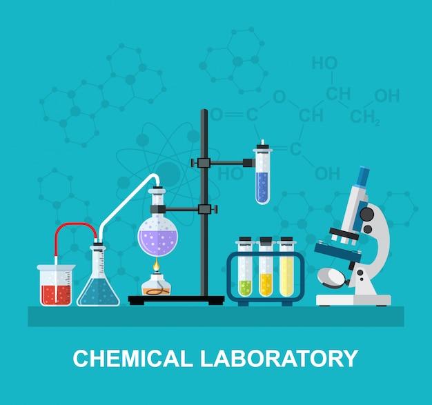 Chemische glaswaren, labor.
