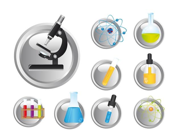 Chemische ikonen über weißer hintergrundvektorillustration