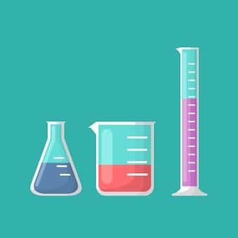 Chemische laborausrüstung, erlenmeyerkolben, becher und reagenzglasvektor
