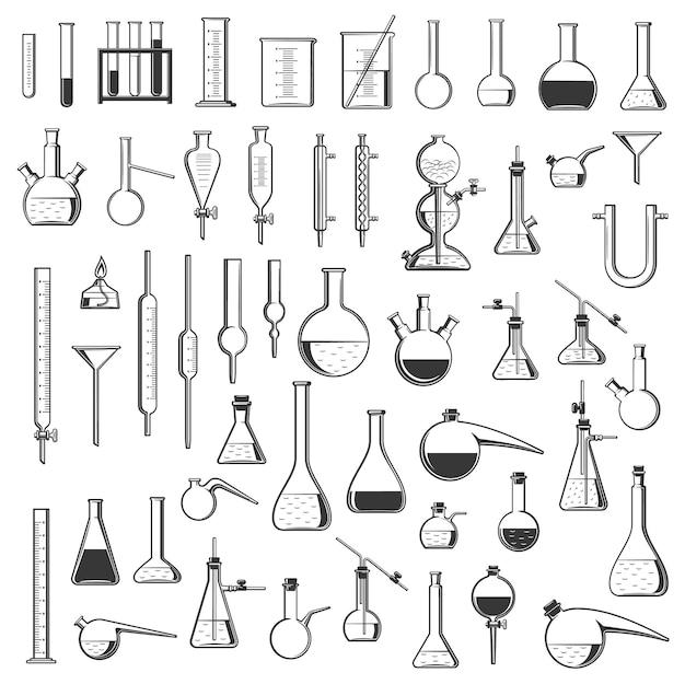 Chemische laborflaschen, röhrchen und retorten, vektorausrüstung für die chemiewissenschaft. laborglas und glasbehälter für medizinische forschungsexperimente, reagenzglasständer, becher, zylinder und brenner