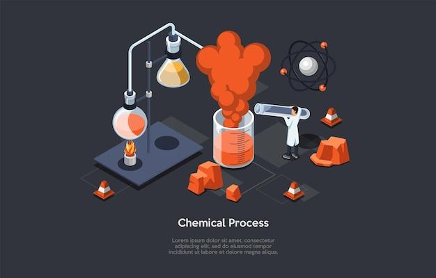 Chemische prozessillustration des wissenschaftlichen konzepts