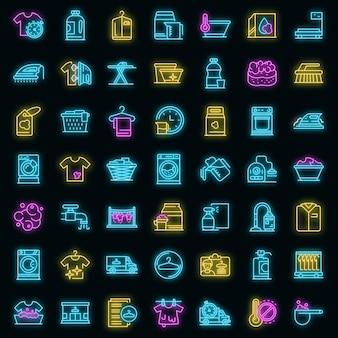 Chemische reinigung symbole gesetzt. umrisse von chemischen reinigungsvektorsymbolen neonfarbe auf schwarz