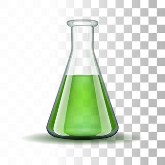 Chemischer labor transparenter kolben mit grüner flüssigkeit