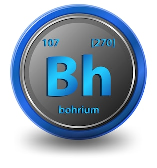 Chemisches element bohrium. chemisches symbol mit ordnungszahl und atommasse.