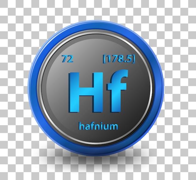 Chemisches element hafnium. chemisches symbol mit ordnungszahl und atommasse.