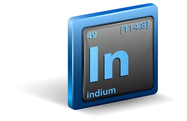 Chemisches element indium. chemisches symbol mit ordnungszahl und atommasse.