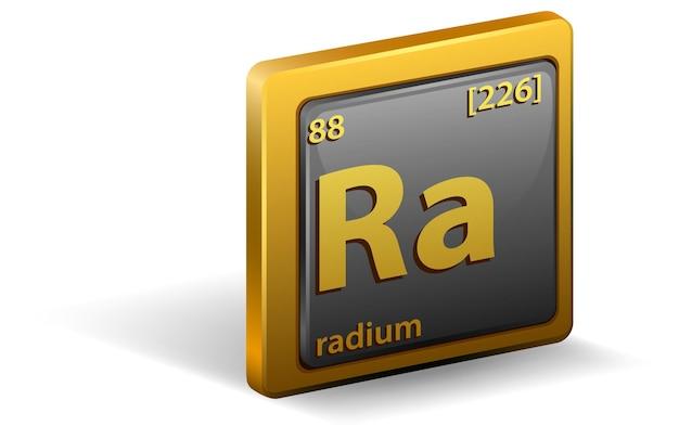 Chemisches element radium. chemisches symbol mit ordnungszahl und atommasse.