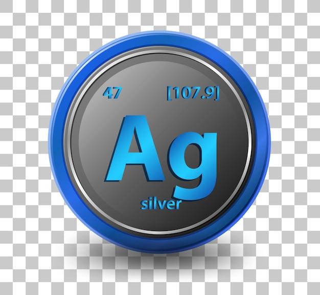 Chemisches element silber. chemisches symbol mit ordnungszahl und atommasse.