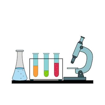 Chemisches geschirr mit einem mikroskop, farbe isolierte vektorillustration.