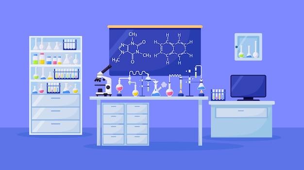 Chemisches labor für forschung, analyse. wissenschaftliche geräte, mikroskop, flaschen mit giftiger flüssigkeit im chemieunterricht.
