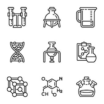 Chemisches laborikonenset. umreißsatz von 9 chemischen laborikonen