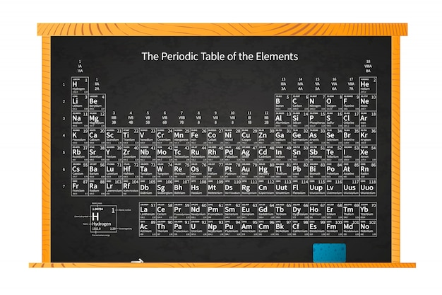 Chemisches periodensystem der elemente auf schultafel im holzrahmen