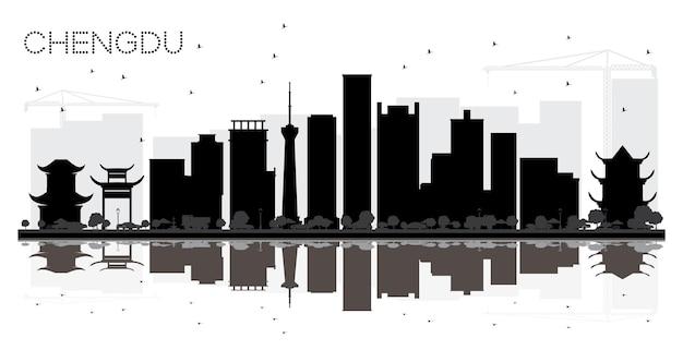 Chengdu china city skyline schwarz-weiß-silhouette mit reflexionen vektor-illustration
