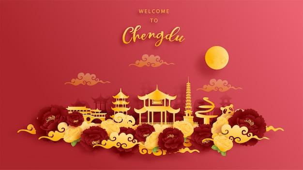 Chengdu, china weltberühmtes wahrzeichen in gold und rotem hintergrund. papierschnitt.