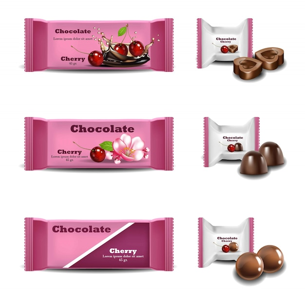 Cherry chocolates vector realistisch. produkte verpackung marke logo design mock-up