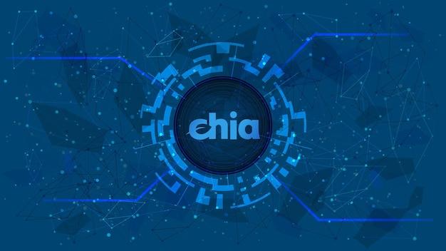 Chia network xch-token-symbol des defi-projekts in einem digitalen kreis mit einem kryptowährungsthema auf blauem hintergrund. symbol für kryptowährung. dezentrale finanzierungsprogramme. platz kopieren. vektor-eps10.