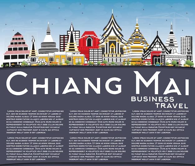 Chiang mai thailand skyline der stadt mit farbgebäuden, blauem himmel und textfreiraum. vektor-illustration. geschäftsreise- und tourismuskonzept mit moderner architektur. chiang mai-stadtbild mit sehenswürdigkeiten.