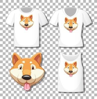Chiba-hundekarikaturfigur mit satz verschiedene hemden lokalisiert auf weißem hintergrund