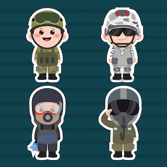 Chibi army cartoon set illustration