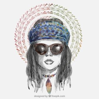 Chic mädchen mit sonnenbrille