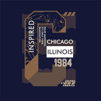Chicago illinois gestreifte grafische typografie-t-shirt-designillustration
