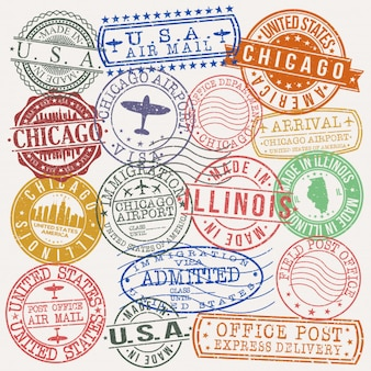 Chicago illinois-postpass-qualitäts-stempel