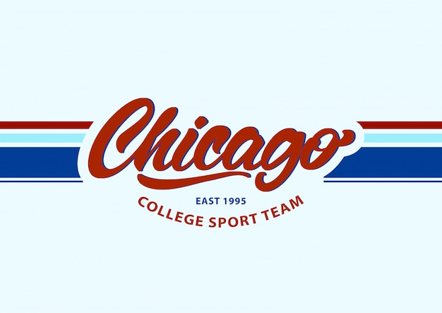 Chicago im schriftzugstil. sportmannschaftsmode.