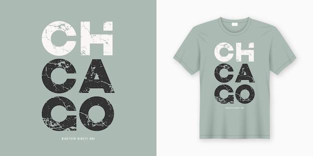 Chicago stilvolles t-shirt und kleidungsdesign. druck, typografie, poster. globale farbfelder.